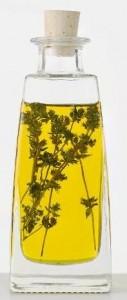 Thyme oil in a bottle